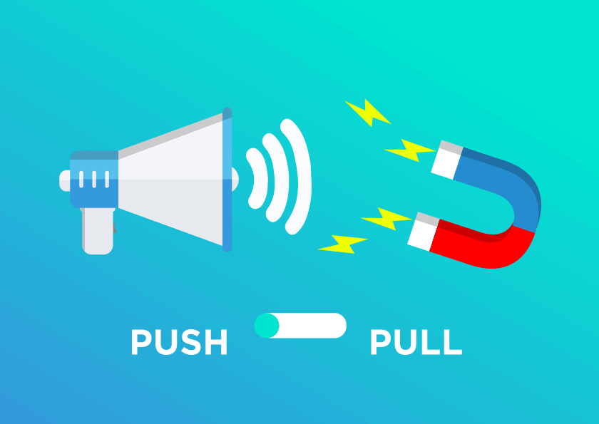 megaphone vs magnet push vs pull promotional strategy