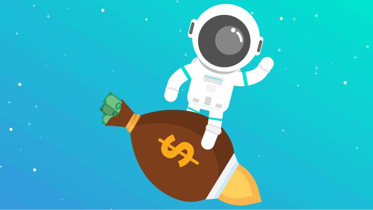 morningscore spaceman riding moneybag rocket