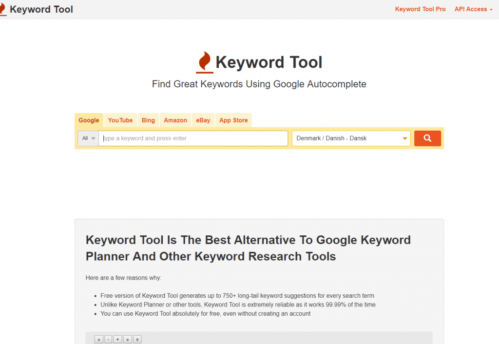 using keywordtool io for long tail keyword ideas