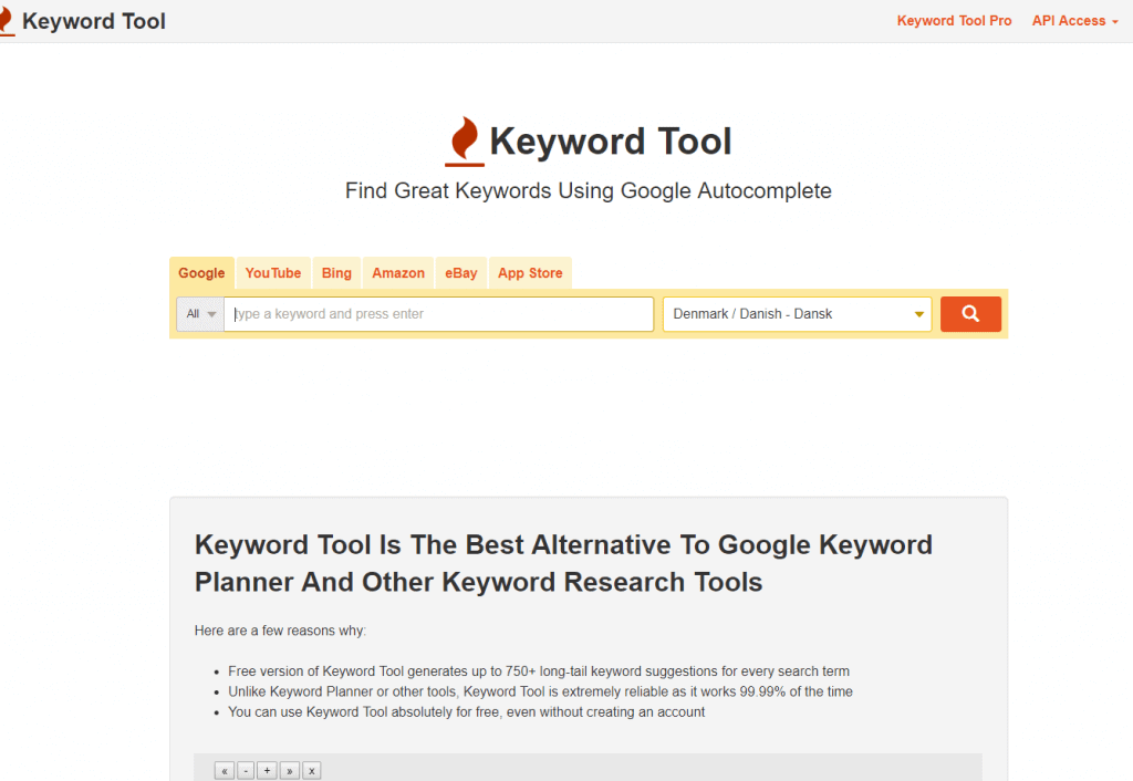 Keywordtool for long tail søgeord ideer