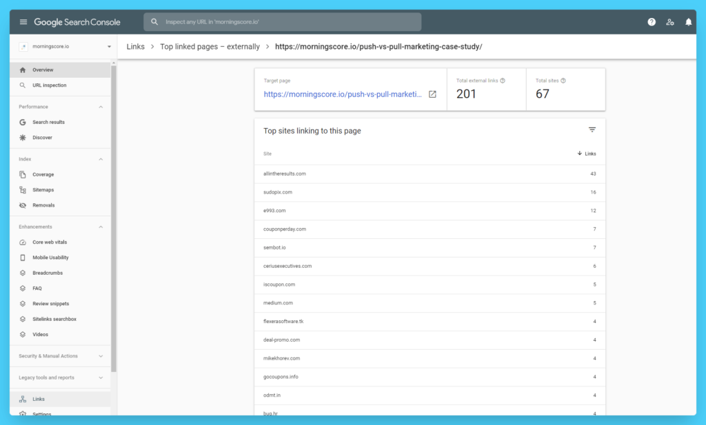 how to see your website links search console top sites linking to page