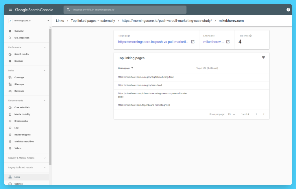 how can i see my backlinks search console top linking pages