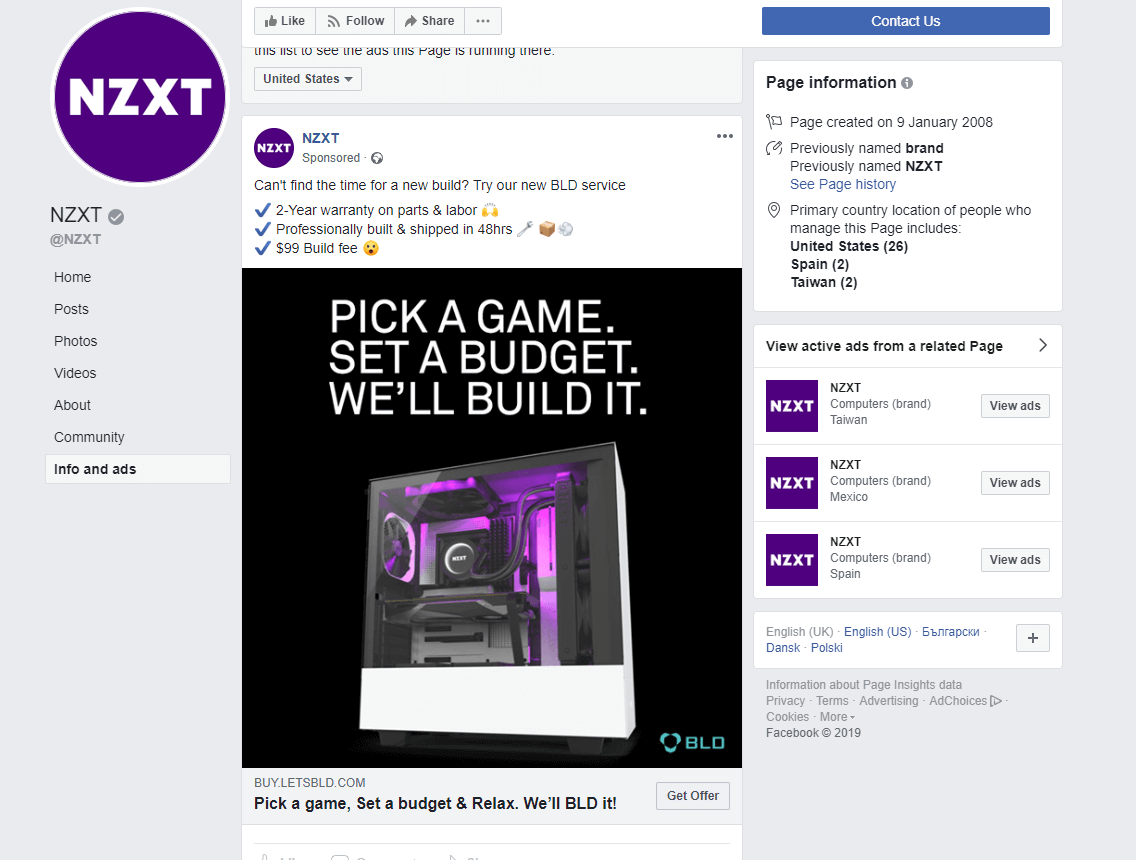 nzxt company example using push strategies on social media for their outbound build a pc campaign company example number 2