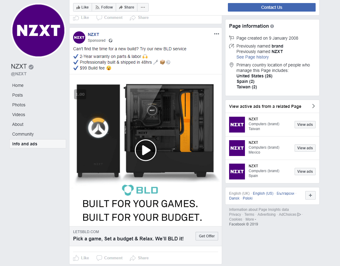 nzxt using outbound channels for their push marketing their sales promotion campaign build a pc on social media example of company using marketing number 3