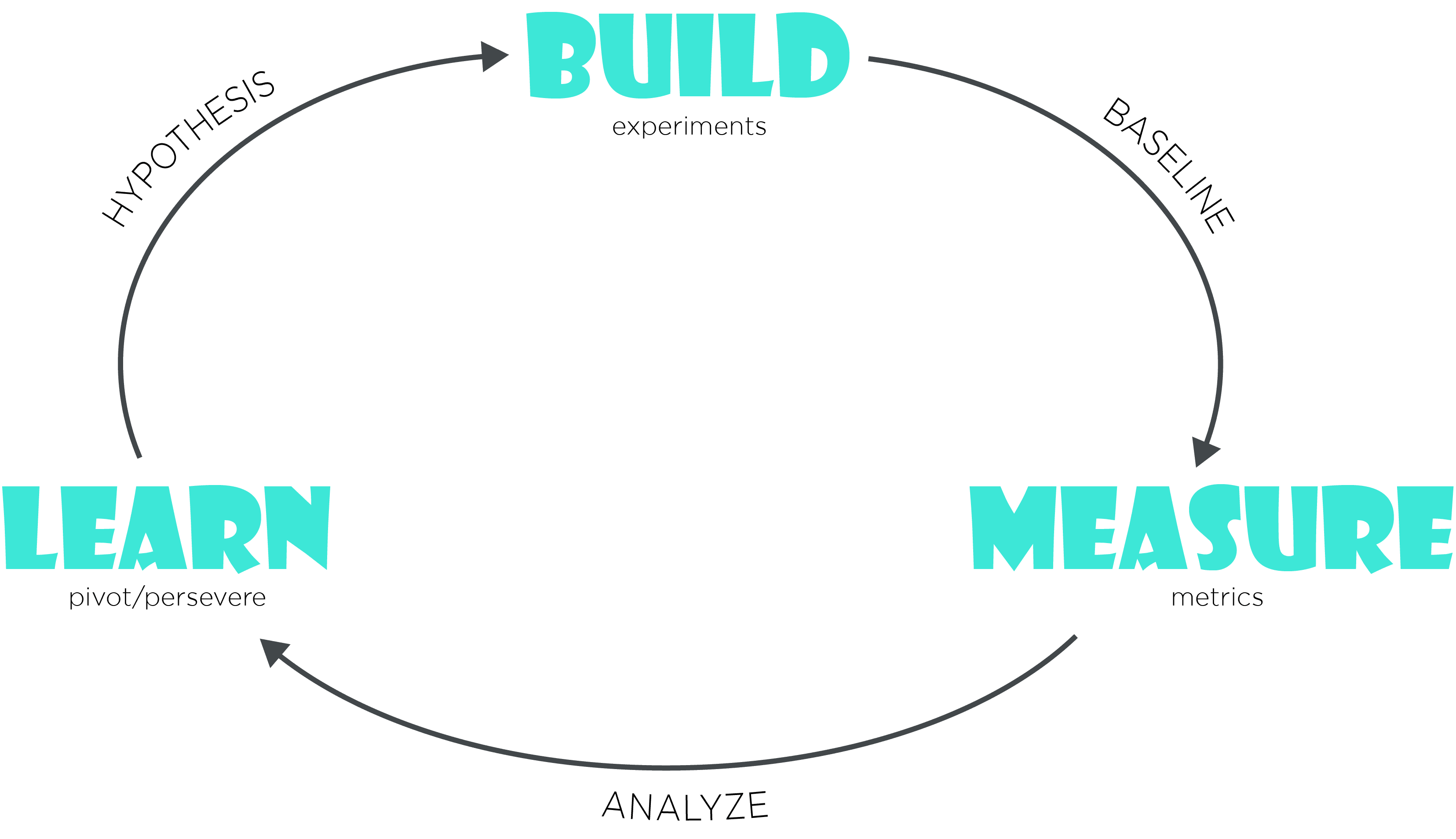 The feedback loop showing 3 phases of build, measure and learn