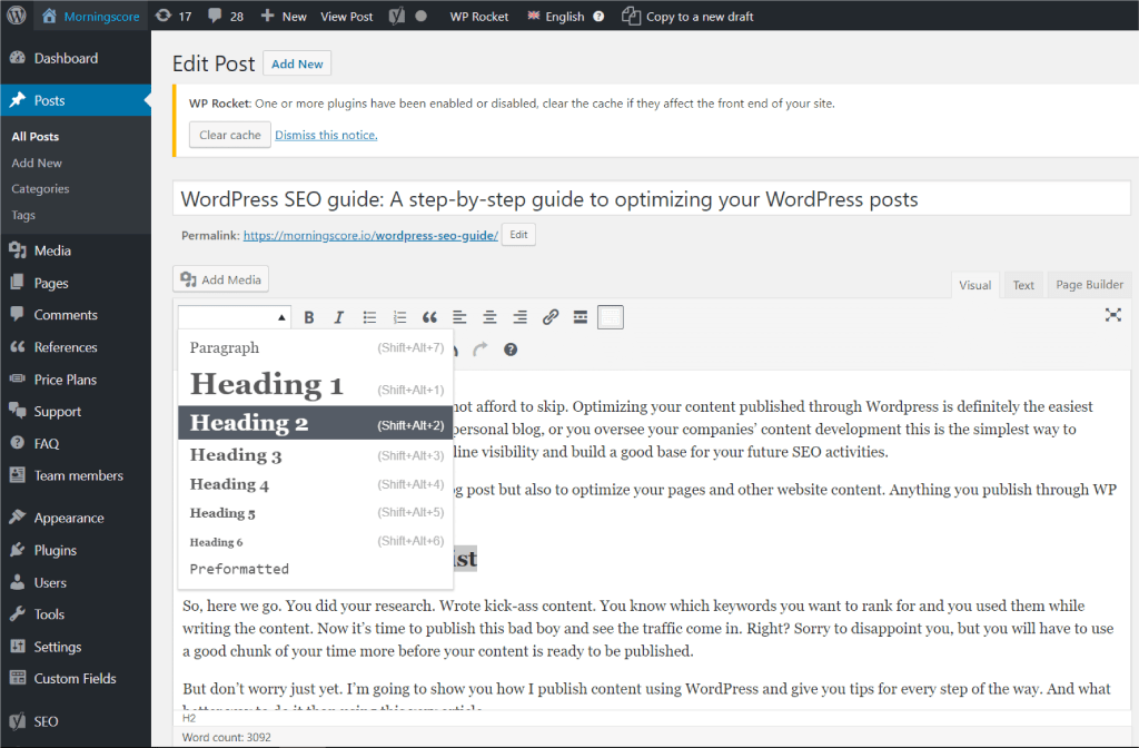 SEO of a WordPress post by use of headings that provide structure