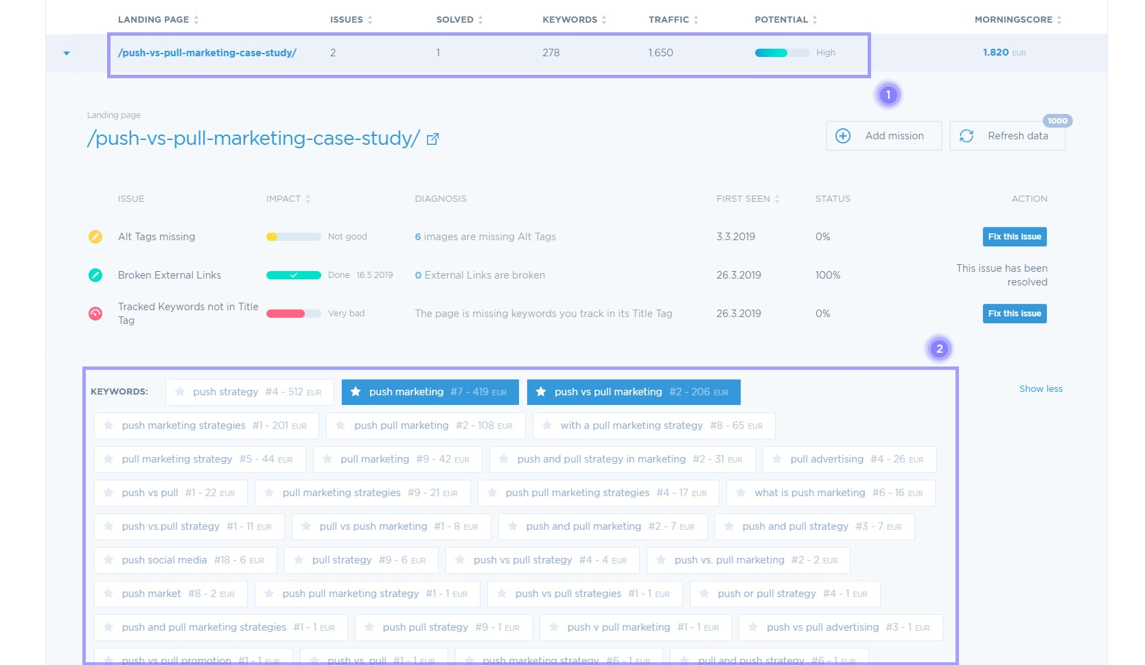 find keywords for each landing page automatically with morningscore