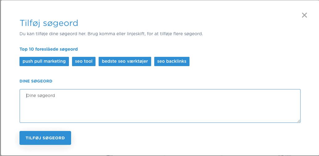 Tilføj søgeord manuelt og automatisk