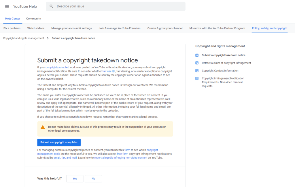 Submiting a copyright complaint and starting a YouTube video takedown for duplicate content