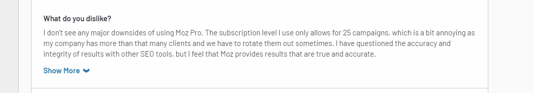 moz pro pricing plans user feedback review 3