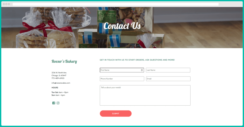 Example of multiple contact methods on a Contact page