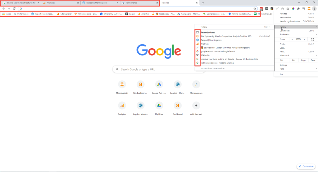 Favicon examples in browser tab, bookmark bar and history