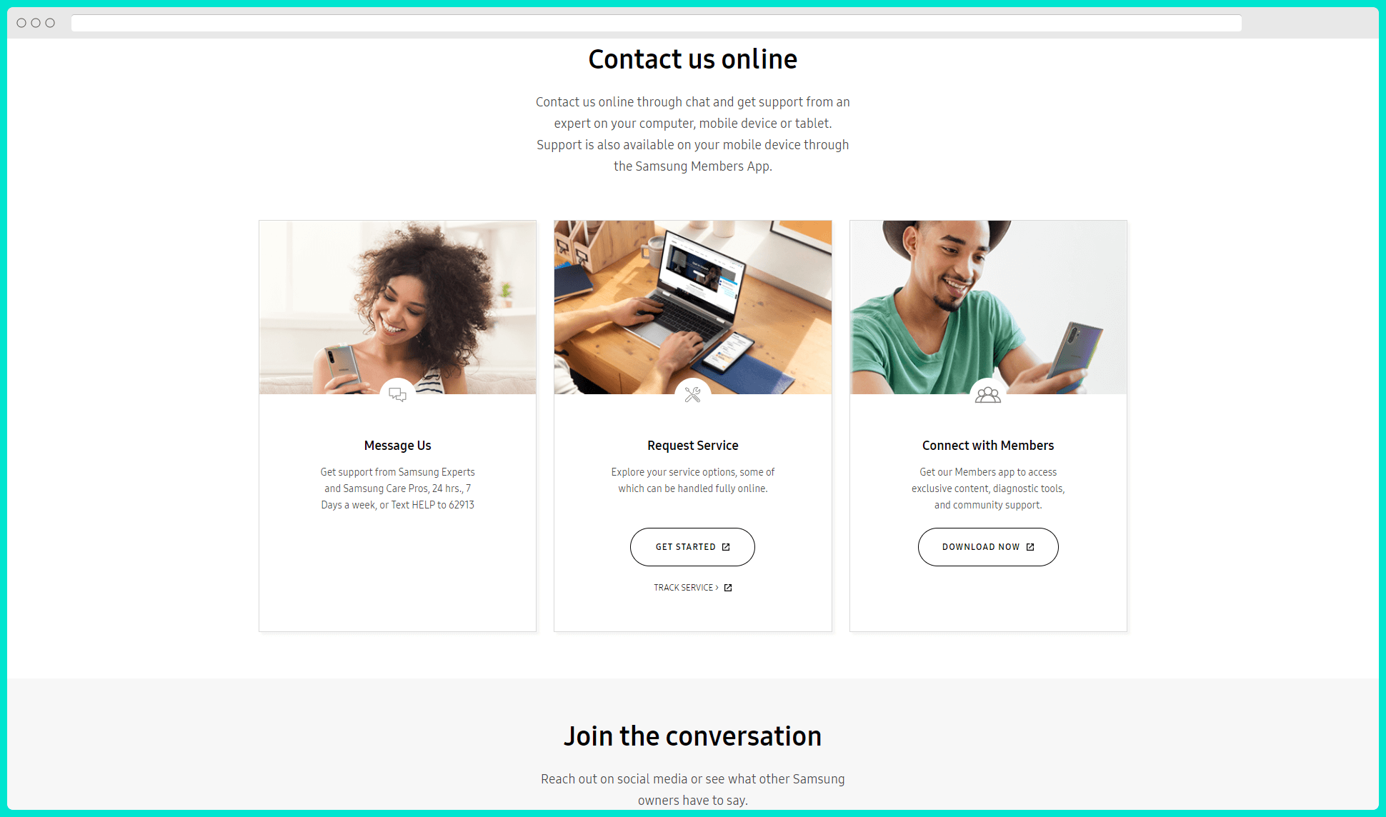 samsung contact page seo example ask the community CTAs