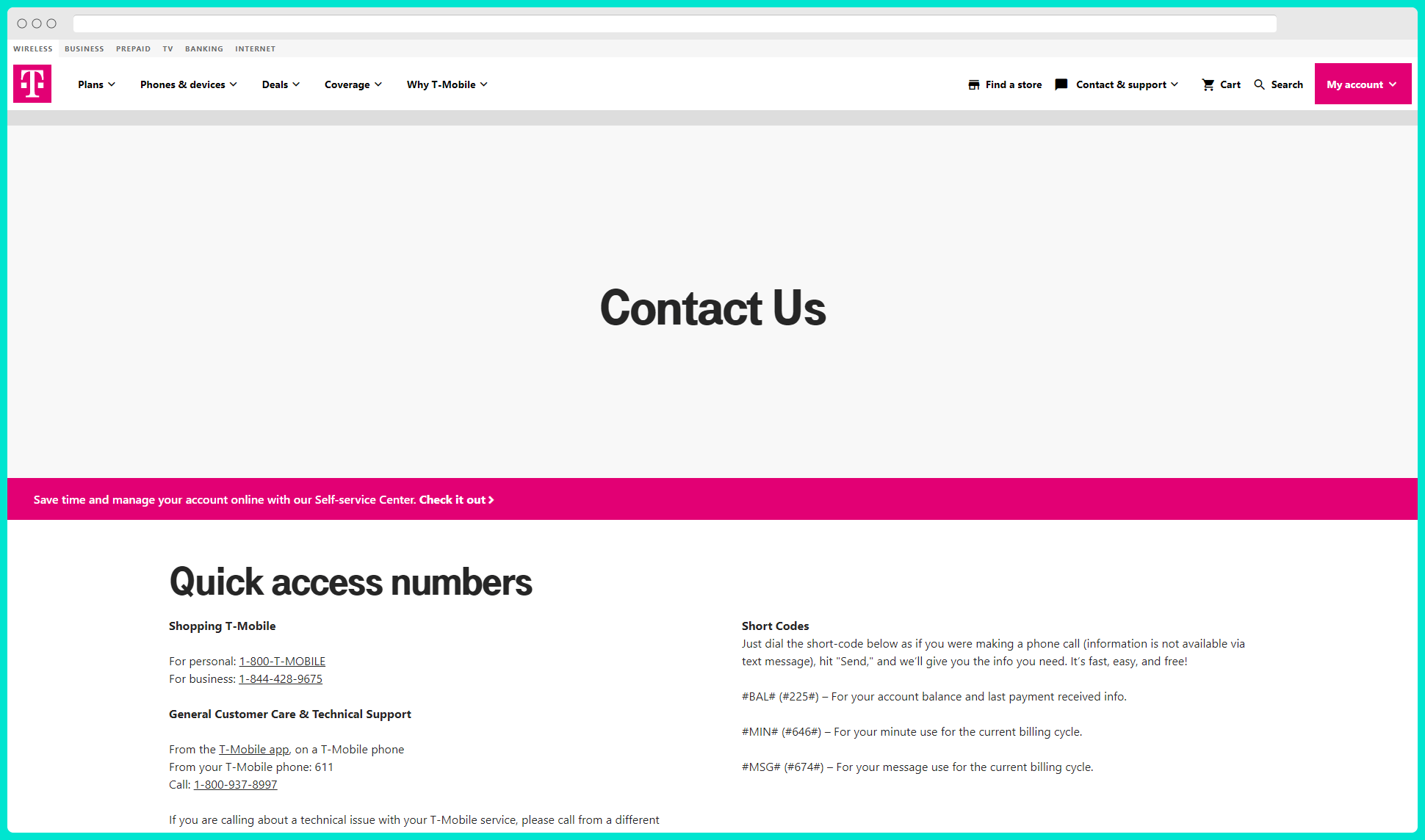 t-mobile contact page seo example above the fold CTA and info