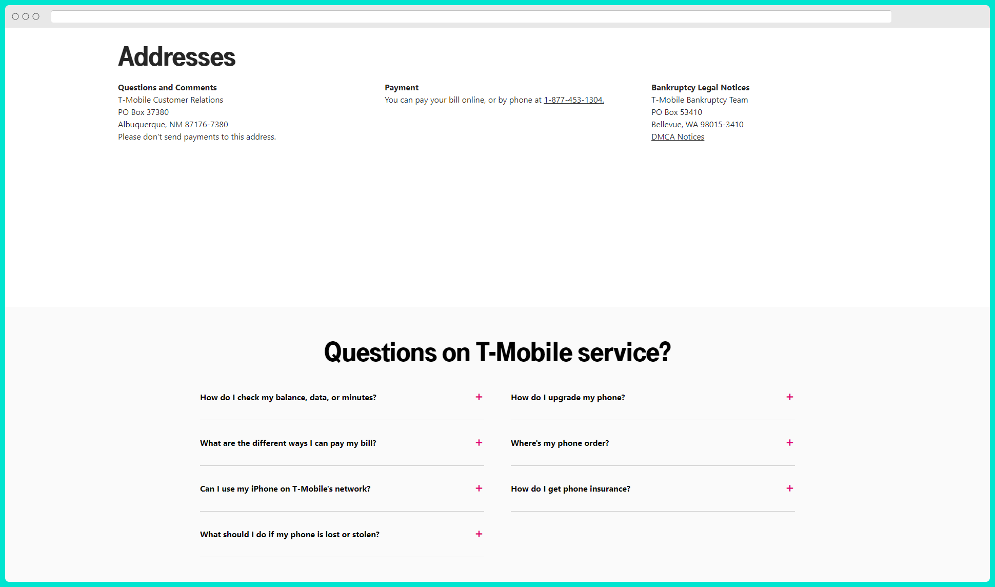 t-mobile contact page seo example address and frequently asked questions