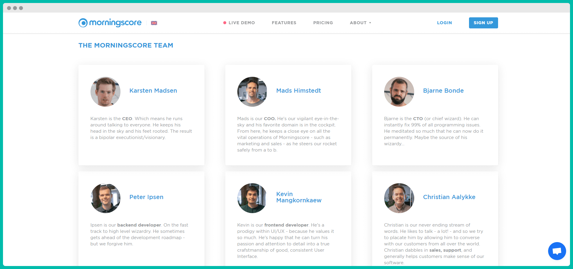 Presenting your employees on the About page