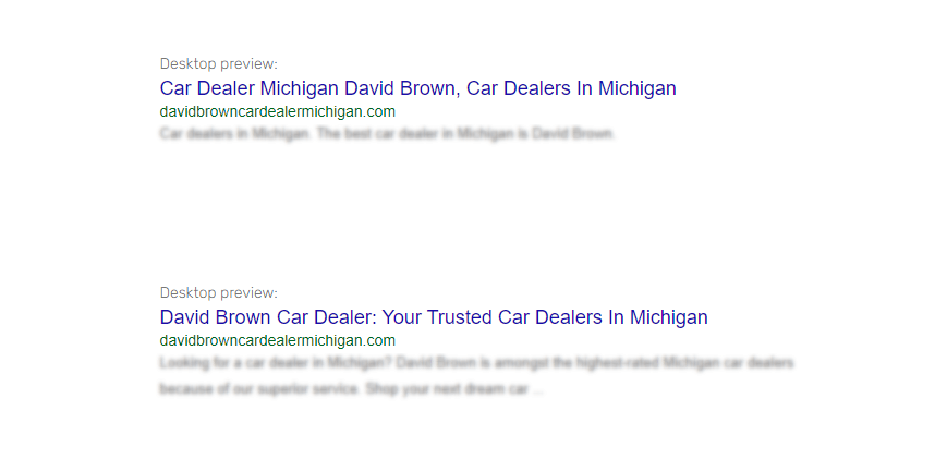 google keywords singular vs plural title tag example with car dealership