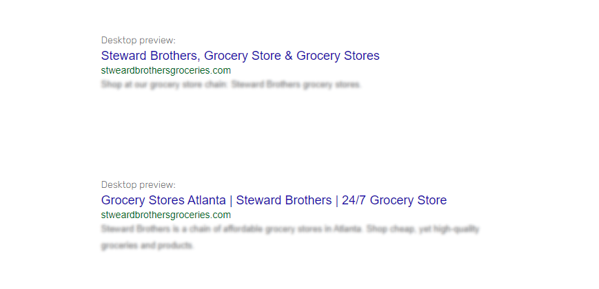 seo keywords singular or plural title tag example with grocery store