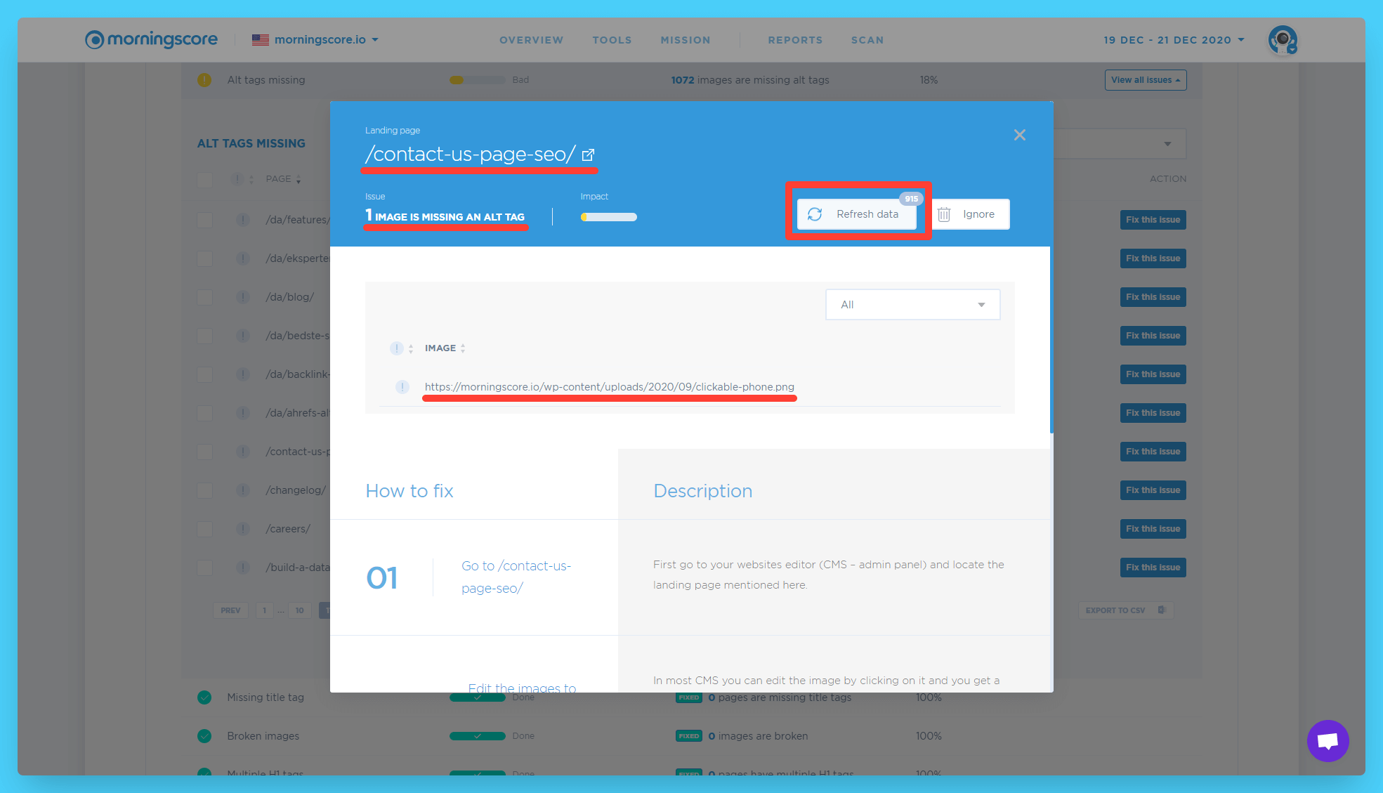checking wordpress image alternative tags with seo tool