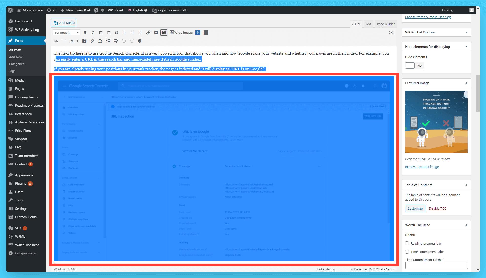 adding alt select image in wordpress visual editor