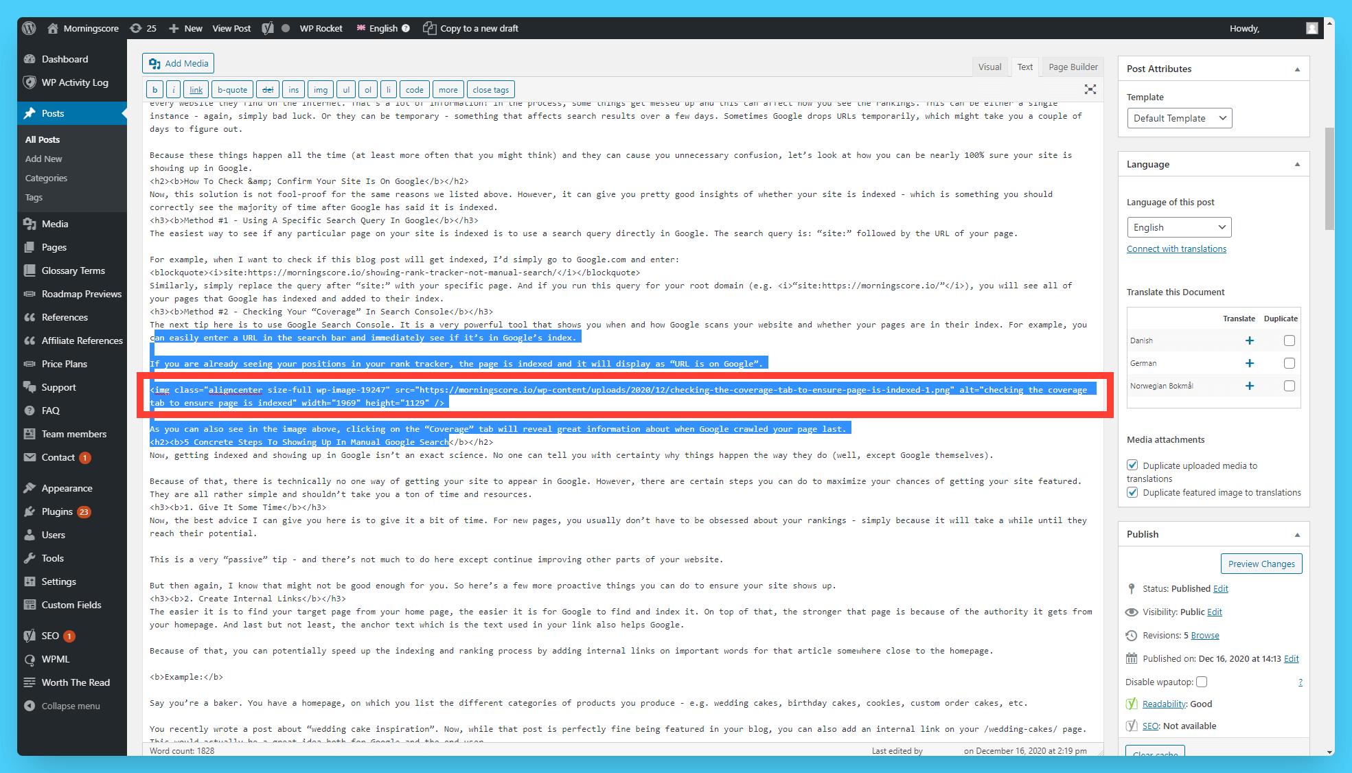 add alternative text attribute directly in text editor in wordpress