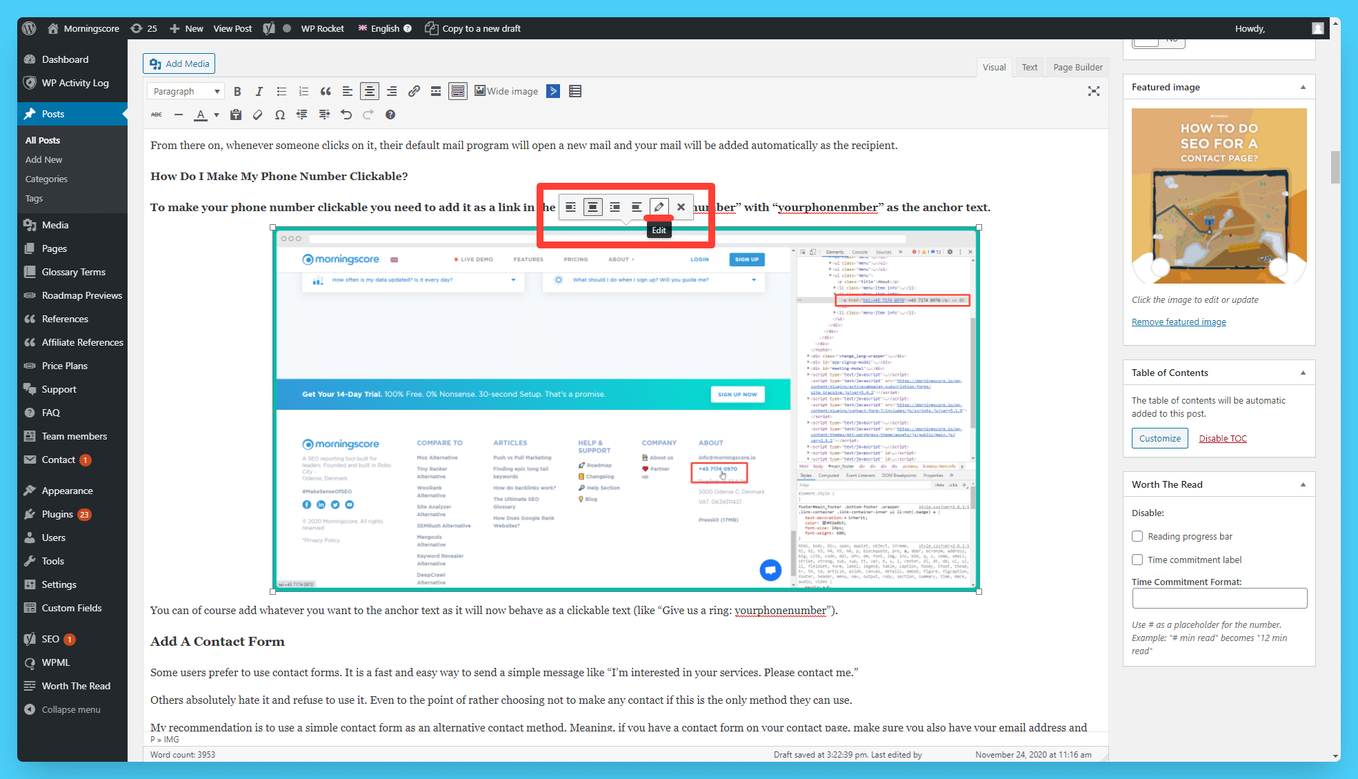 edit image detail prompt window in wordpress for alt texts