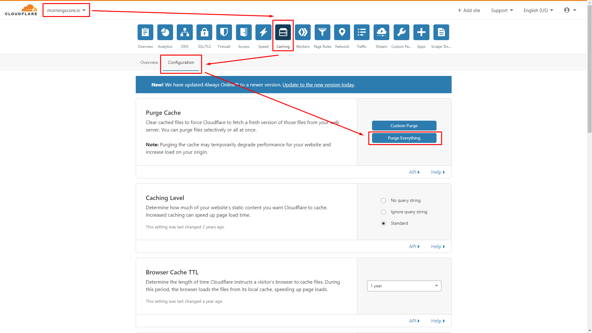 fixing alt tags not showing step 2 clearing cache cloudflare example